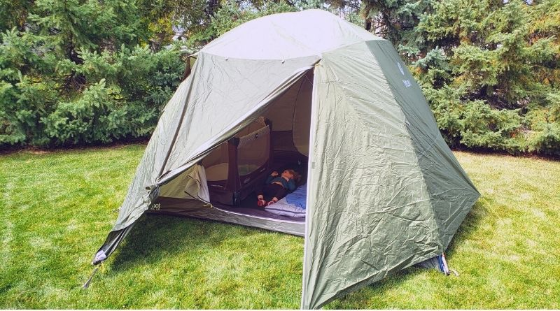 tent with a pack n play inside