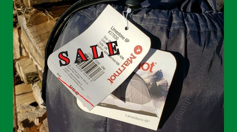 Tent with sale tag, cheap camping gear