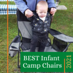 Infant standing on camping chair at campsite