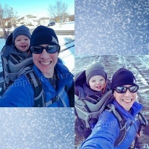 Woman carrying a toddler in an osprey poco plus child carrier backpack while shoveling snow