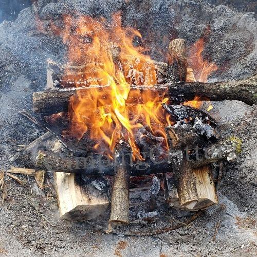 Campfire log cabin style