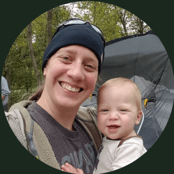 Molly Foss Author at Camping Critterz holding her infant son