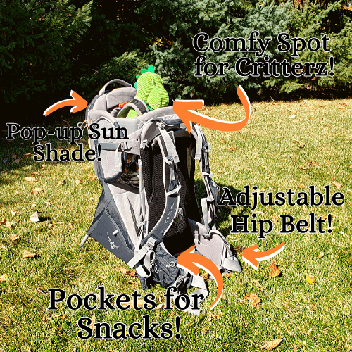 """Features of the Osprey Poco Plus Child carrier. A carrier with a stuffed green dinosaur buckled in where the child would sit. """"pockets for snacks"""" """"Adjustable hip belt"""" """"Pop-up sun shade"""" """"Comfy spot for Critterz"""""""