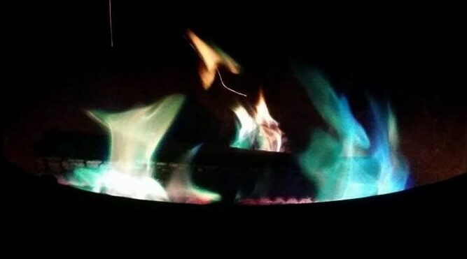green and orange fire