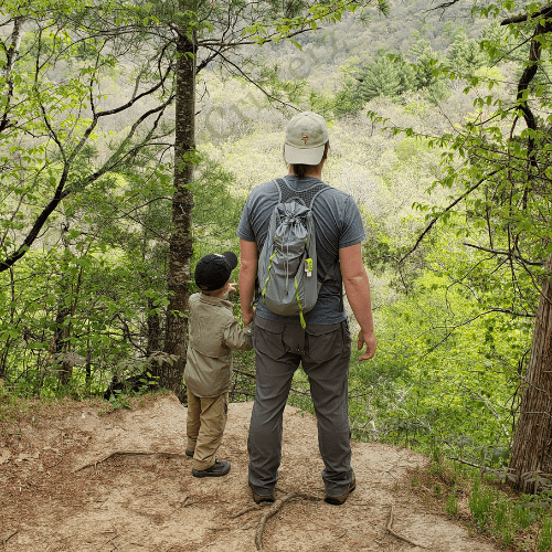 Hiking overlook, father and son hiking