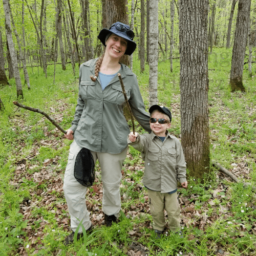 Mother and son having fun off trail hiking